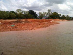 Aktifitas penimbunan laut dengan membabat hutan bakau atau mangrov didaerah Tanjung Unggat, Kota Tanjungpinang.
